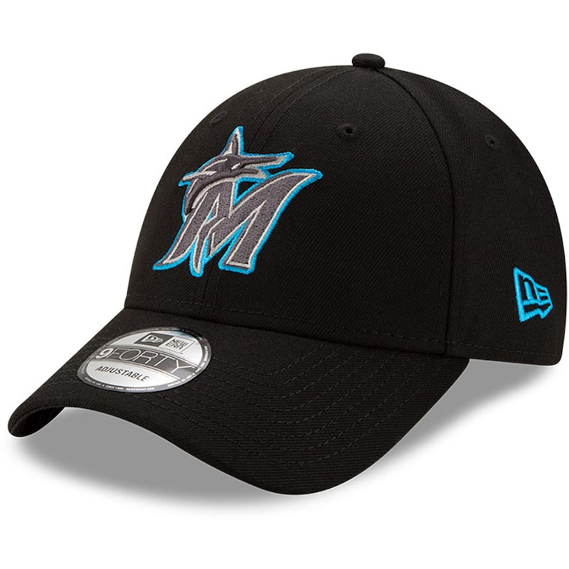 Miami Marlins New Era League 9FORTY Adjustable Hat - Black