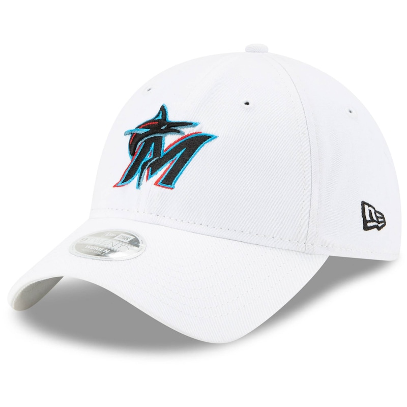 Miami Marlins New Era Women's Team Core Classic 9TWENTY Adjustable Hat - White