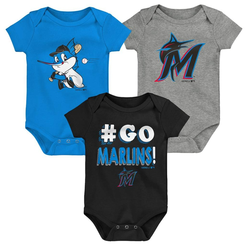 Miami Marlins Infant Born To Win 3-Pack Bodysuit Set - Black/Blue/Gray