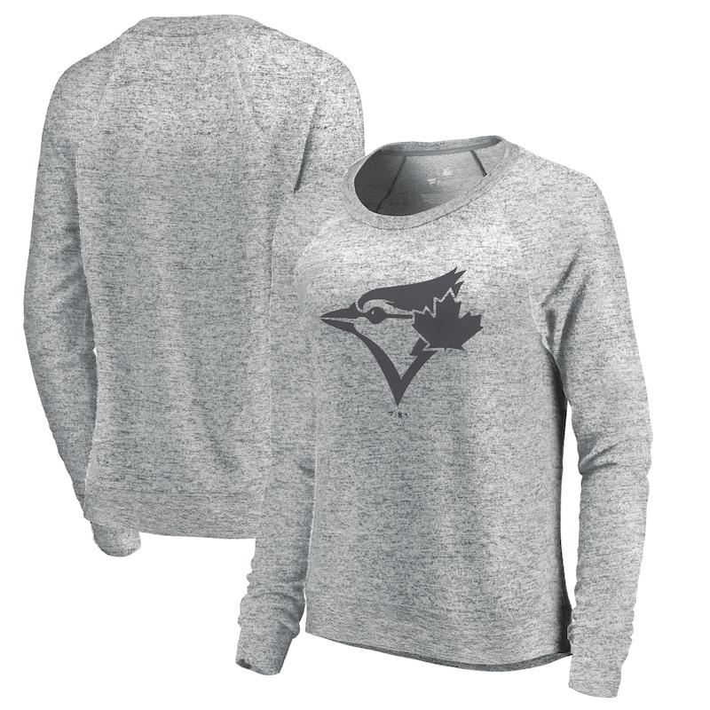Toronto Blue Jays Let Loose by RNL Women's Cozy Collection Plush Raglan Tri-Blend Sweatshirt - Ash
