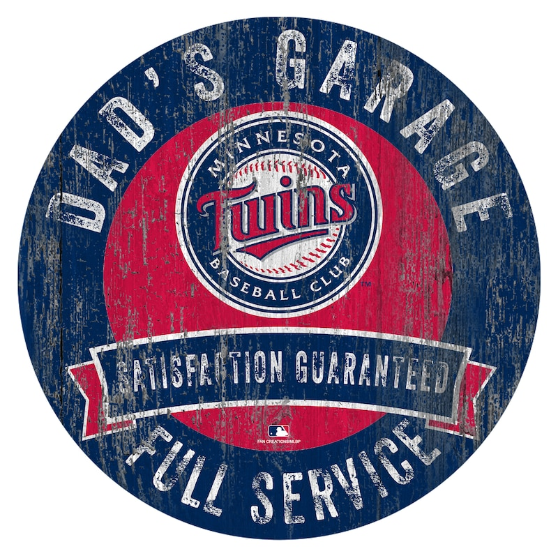 "Minnesota Twins 12"" x 12"" Dad's Garage Sign"
