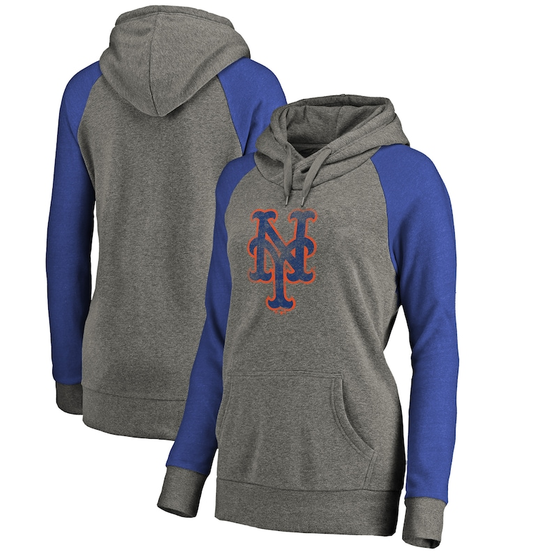 New York Mets Fanatics Branded Women's Distressed Team Logo Tri-Blend Raglan Pullover Hoodie - Gray/Royal