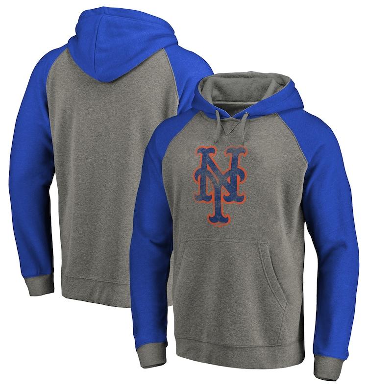 New York Mets Fanatics Branded Distressed Team Logo Tri-Blend Raglan Pullover Hoodie - Gray/Royal