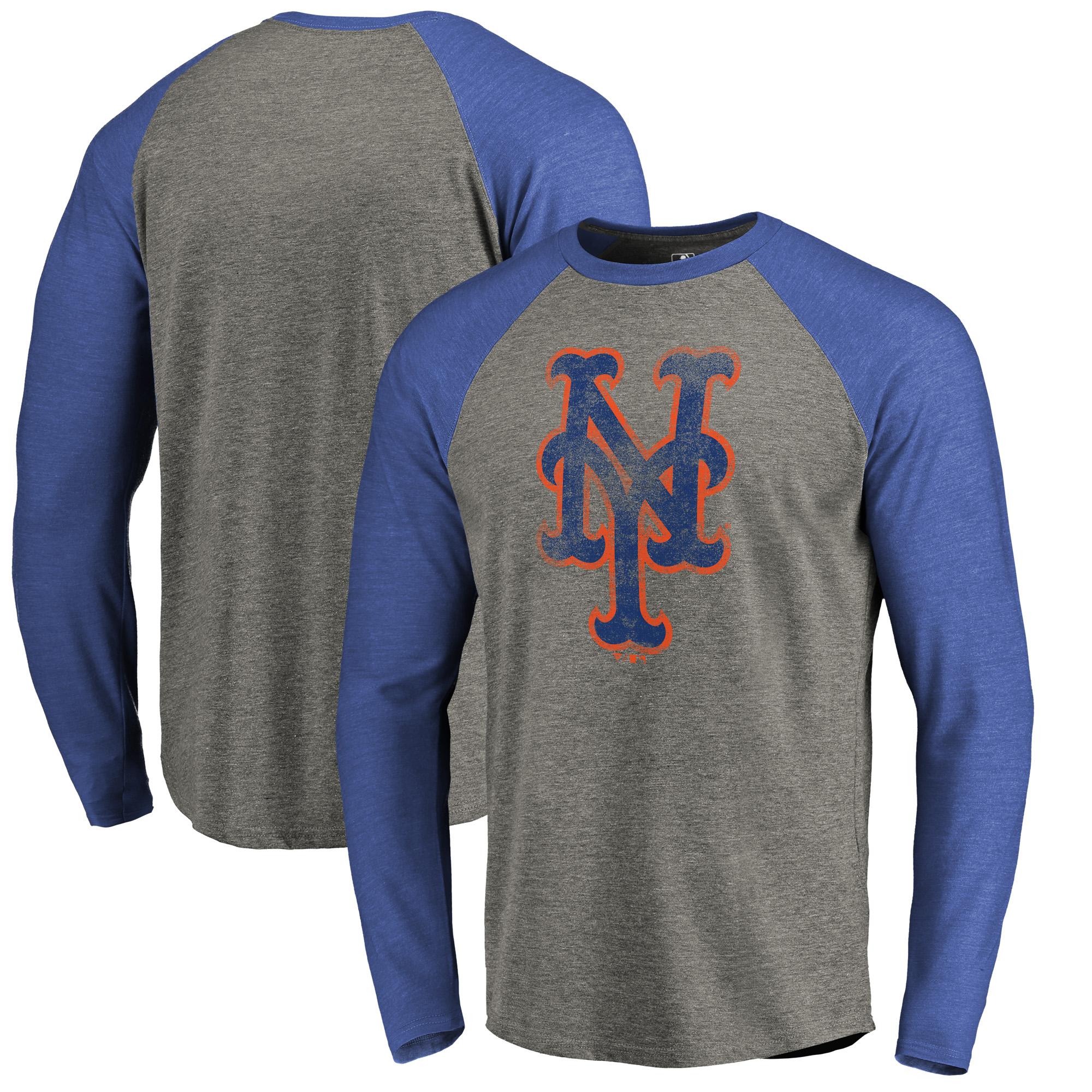 New York Mets Fanatics Branded Distressed Team Big & Tall Long Sleeve Tri-Blend Raglan T-Shirt - Gray/Royal