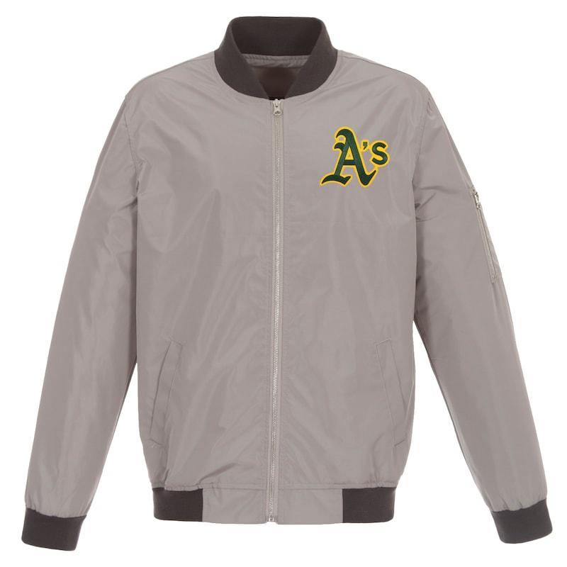 Oakland Athletics JH Design Lightweight Nylon Bomber Jacket - Gray