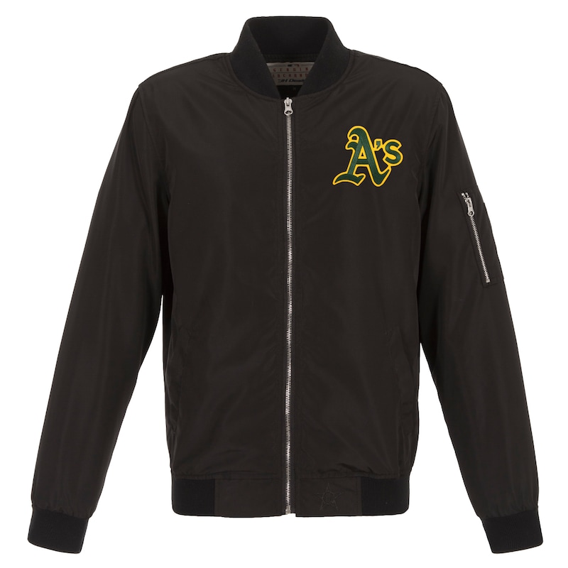 Oakland Athletics JH Design Lightweight Nylon Bomber Jacket - Black