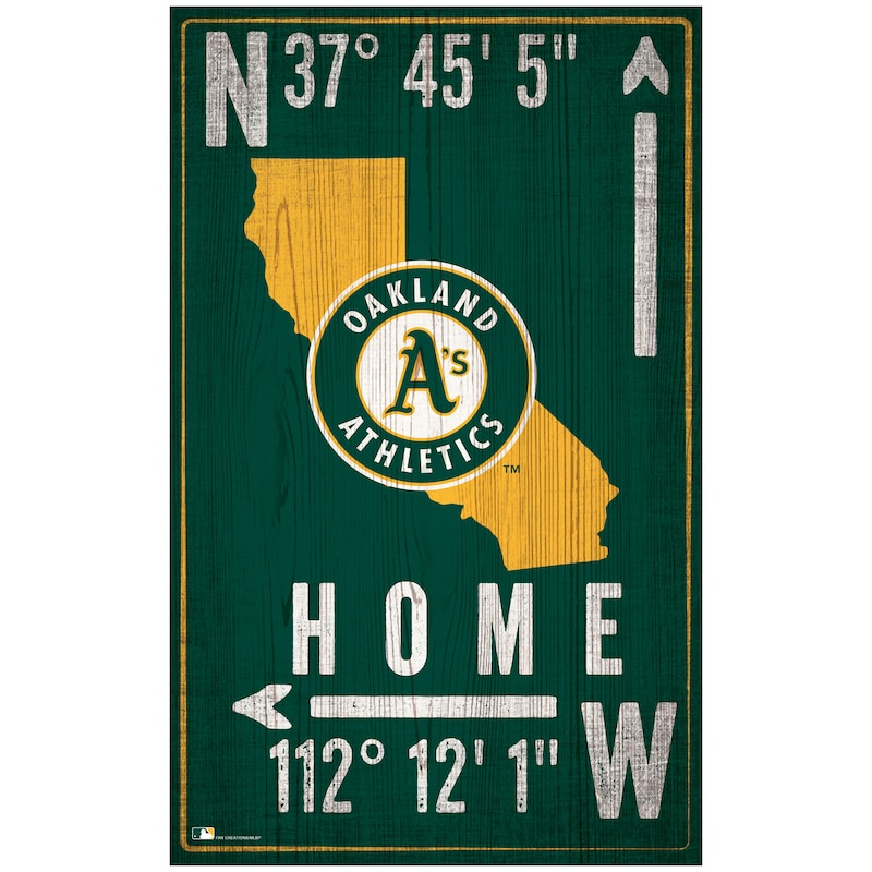 "Oakland Athletics 11"" x 19"" Coordinate Sign"