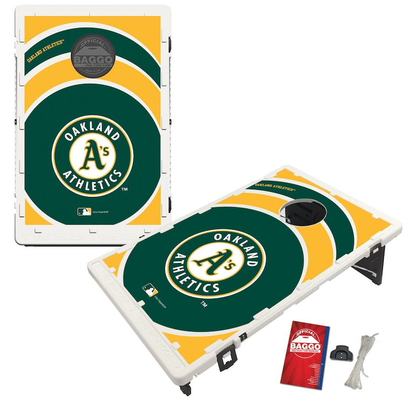 Oakland Athletics 2' x 3' BAGGO Vortex Cornhole Board Tailgate Toss Set