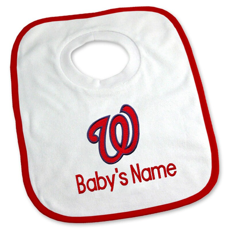 Washington Nationals Newborn & Infant Personalized Bib - White