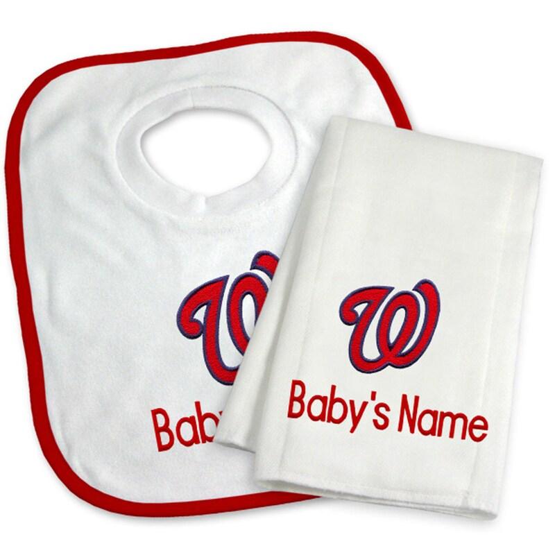 Washington Nationals Newborn & Infant Personalized Bib & Burp Cloth Set - White