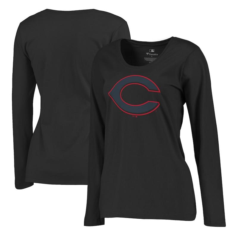 Cincinnati Reds Fanatics Branded Women's Taylor Plus Size Long Sleeve T-Shirt - Black