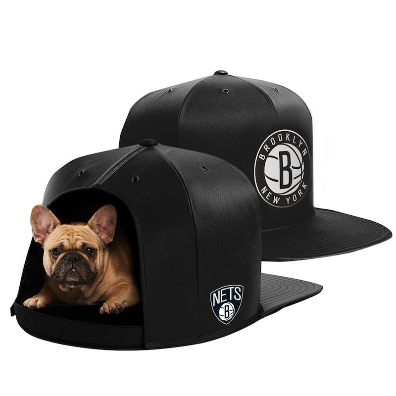 Brooklyn Nets Medium Pet Nap Cap - Black