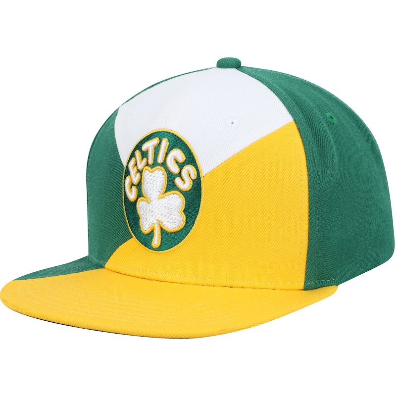 Boston Celtics Mitchell & Ness Quadriga Adjustable Snapback Hat - Green/Gold