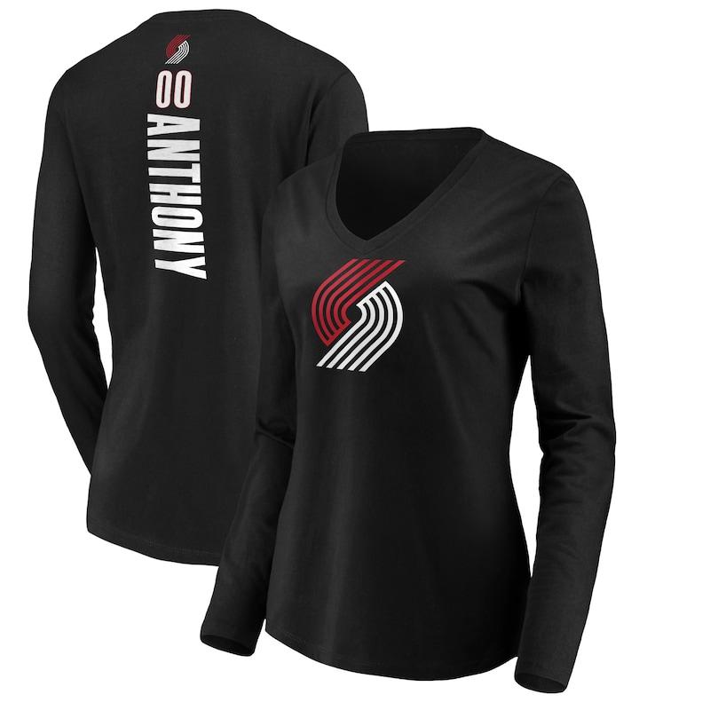 Carmelo Anthony Portland Trail Blazers Fanatics Branded Women's Playmaker Name & Number Long Sleeve V-Neck T-Shirt - Black