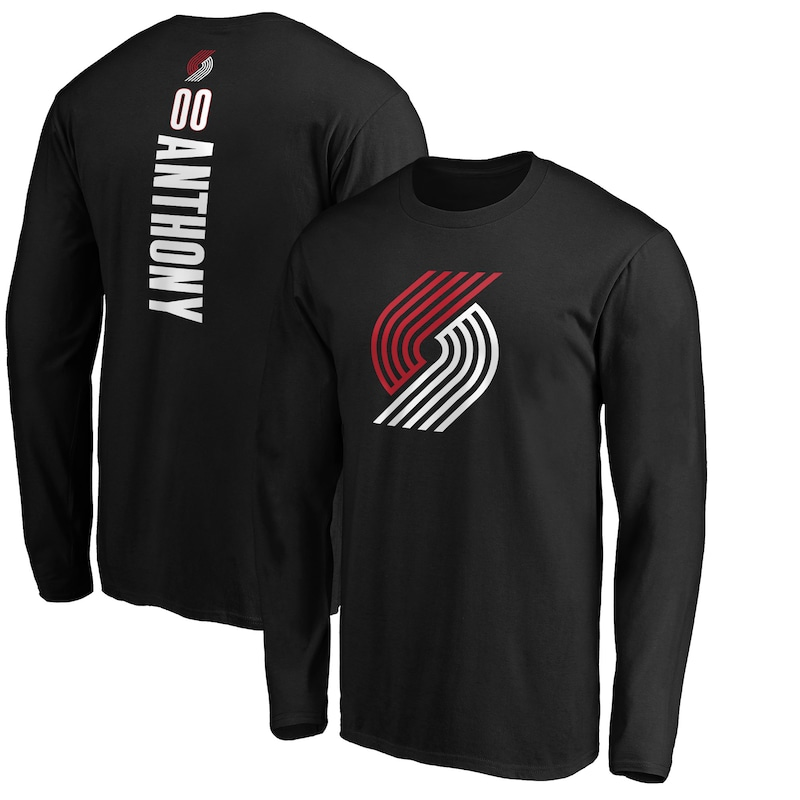 Carmelo Anthony Portland Trail Blazers Fanatics Branded Playmaker Name & Number Long Sleeve T-Shirt - Black