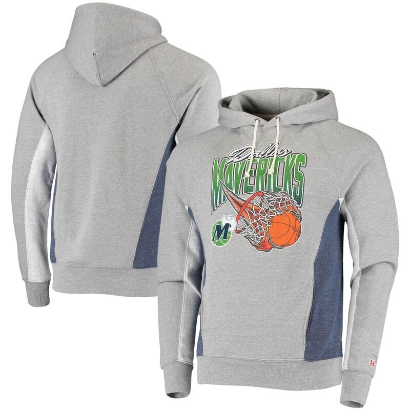 Dallas Mavericks Homage On Fire Tri-Blend Pullover Hoodie - Heathered Gray/Heathered Navy