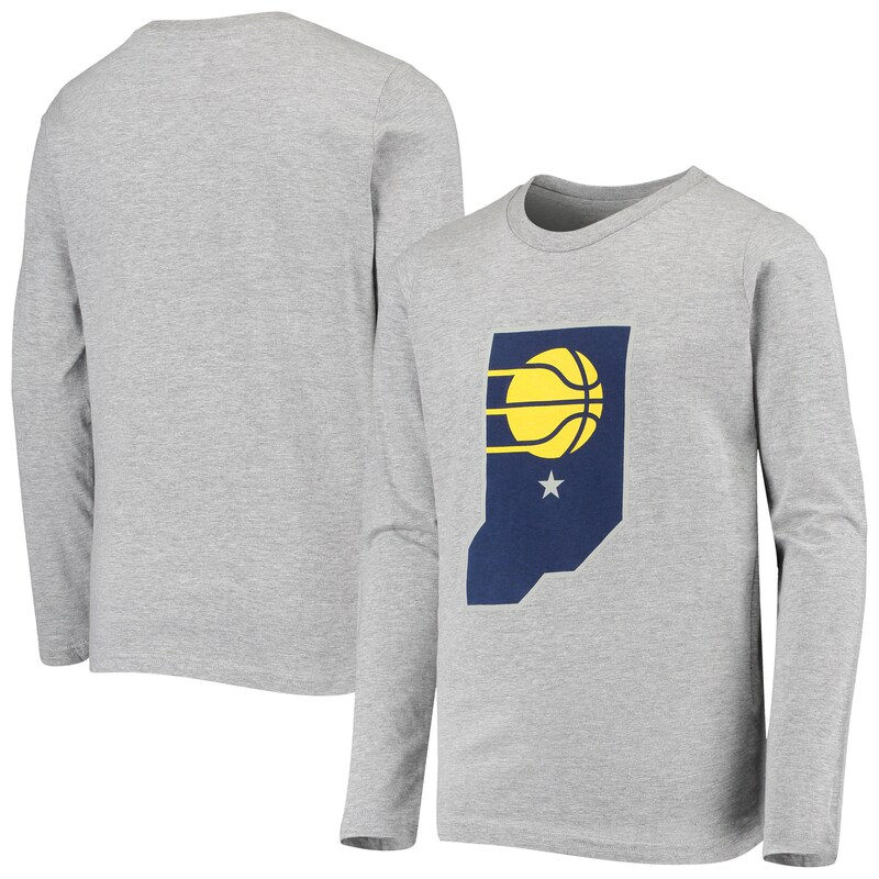 Indiana Pacers Youth Primary Logo Long Sleeve T-Shirt - Heathered Gray
