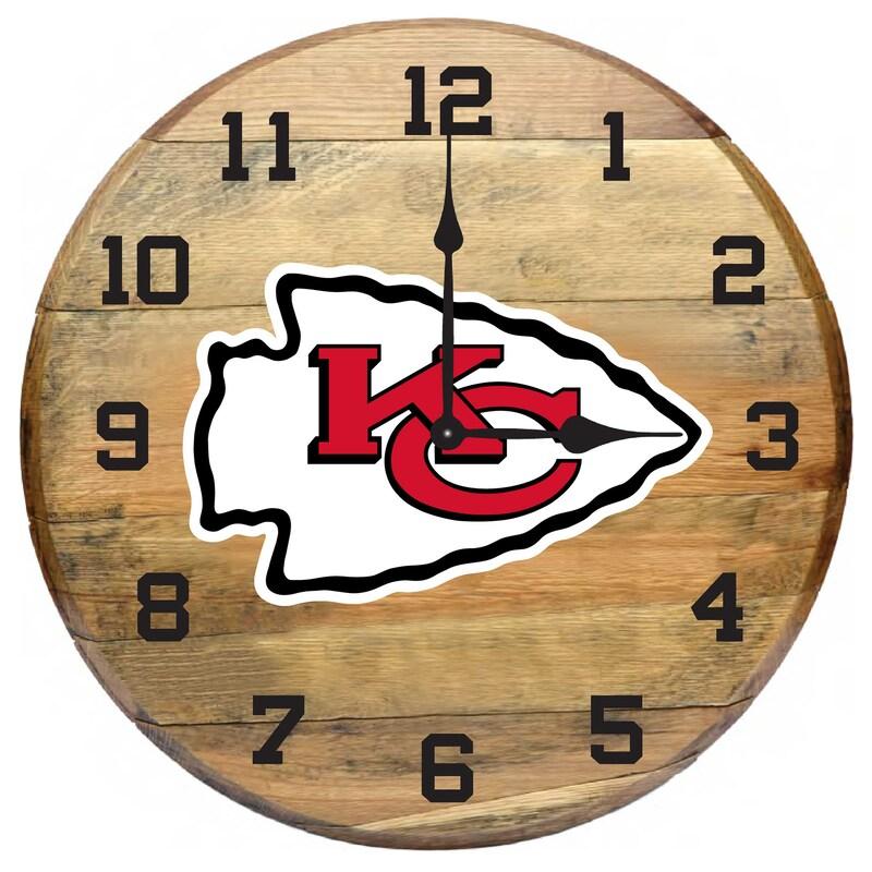Kansas City Chiefs Imperial Oak Barrel Clock