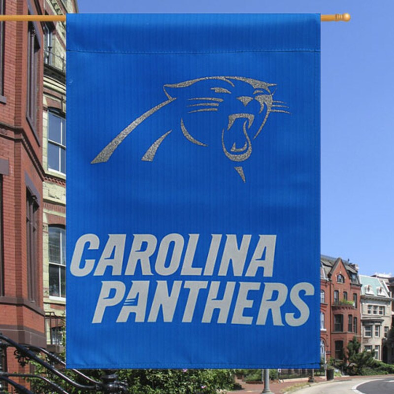 """Carolina Panthers 29"""" x 43"""" Glitter Suede House Vertical Flag"""