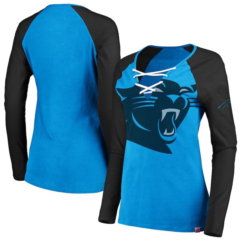 Carolina Panthers Majestic Women's Long Sleeve Lace-Up V-Neck T-Shirt - Blue/Black