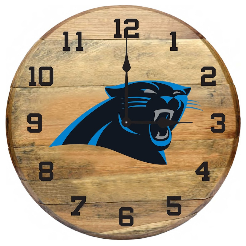 Carolina Panthers Imperial Oak Barrel Clock