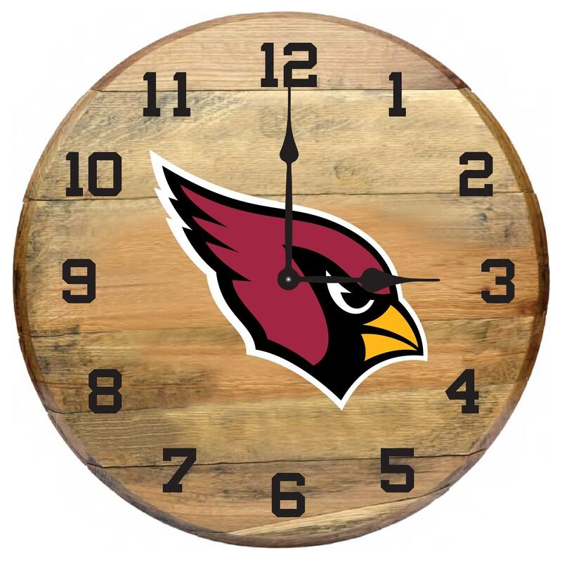 Arizona Cardinals Imperial Oak Barrel Clock