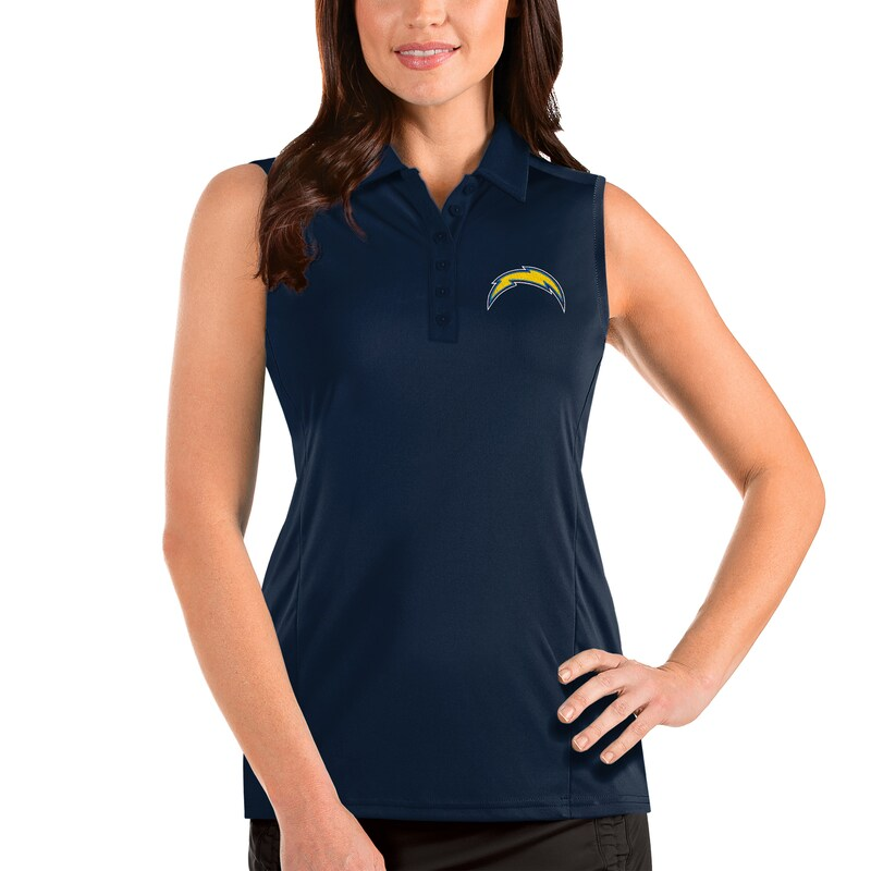 Los Angeles Chargers Antigua Women's Sleeveless Tribute Polo - Navy