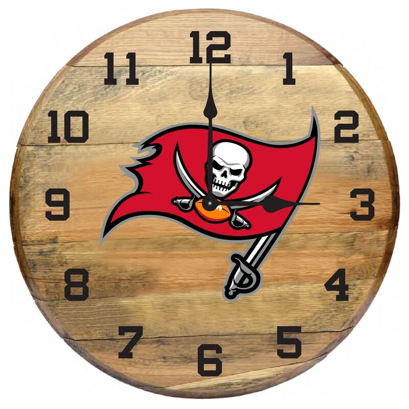 Tampa Bay Buccaneers Imperial Oak Barrel Clock