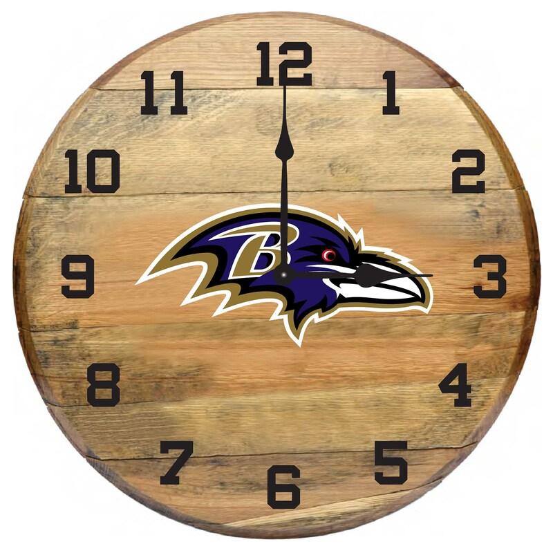 Baltimore Ravens Imperial Oak Barrel Clock