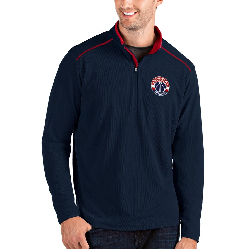 Washington Wizards Antigua Big & Tall Glacier Quarter-Zip Pullover Jacket - Navy/Red