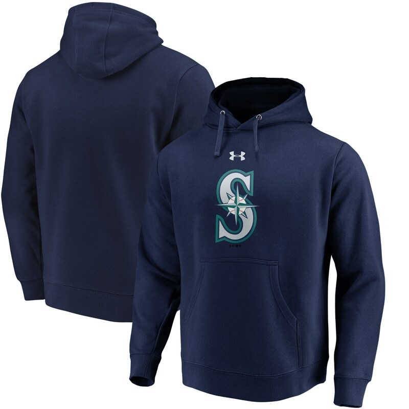 Seattle Mariners Under Armour Commitment Team Mark Performance Pullover Hoodie - Navy