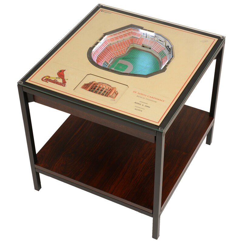 St. Louis Cardinals 25-Layer StadiumView Lighted End Table - Brown