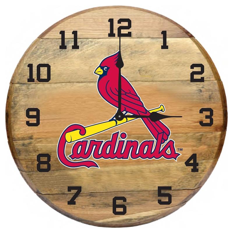 St. Louis Cardinals Imperial Oak Barrel Clock