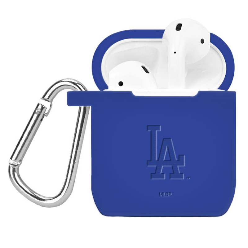 Los Angeles Dodgers Debossed Silicone Air Pods Case Cover - Royal