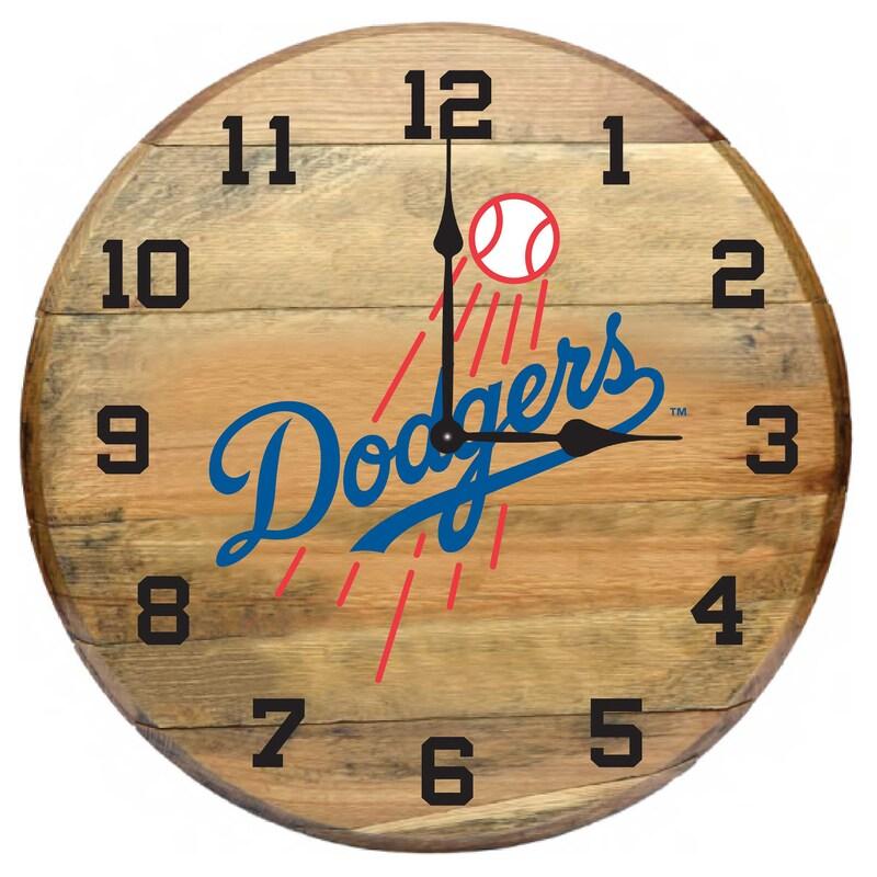 Los Angeles Dodgers Imperial Oak Barrel Clock