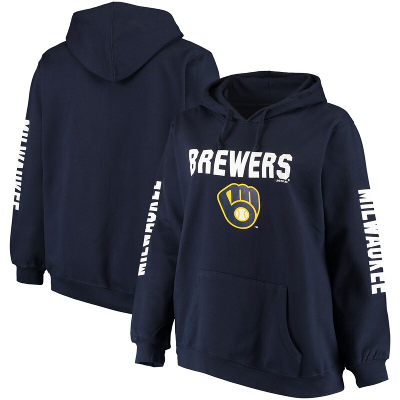 Milwaukee Brewers Women's Plus Size 4-Hit Pullover Hoodie - Navy