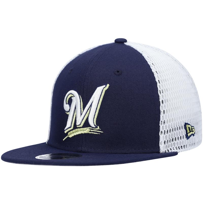Milwaukee Brewers New Era Mesh Fresh 9FIFTY Snapback Hat - Navy