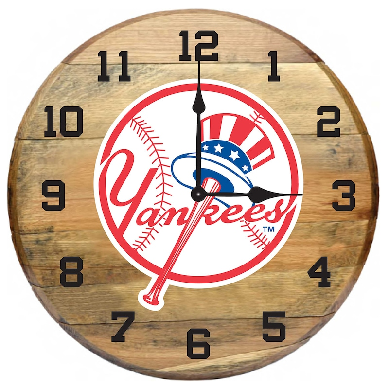 New York Yankees Imperial Oak Barrel Clock