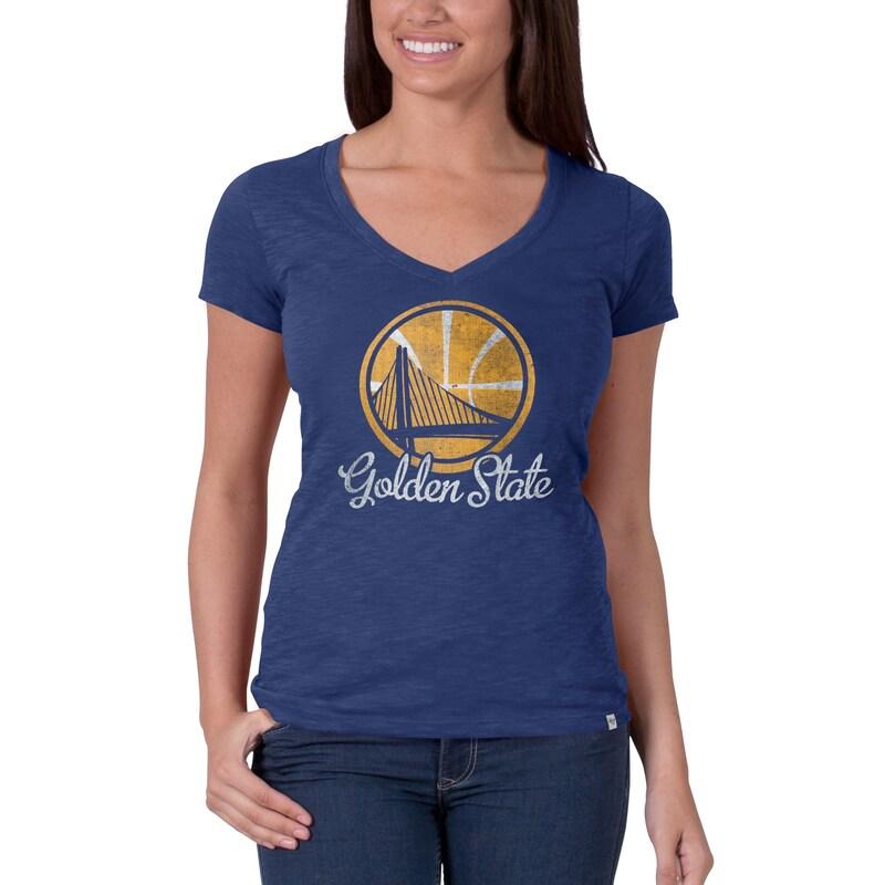 Golden State Warriors '47 Brand Women's Current Logo Flanker V-Neck T-Shirt - Royal Blue