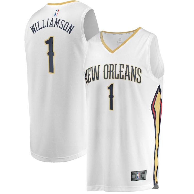 Zion Williamson New Orleans Pelicans Fanatics Branded 2019 NBA Draft First Round Pick Fast Break Replica Jersey White - Association Edition