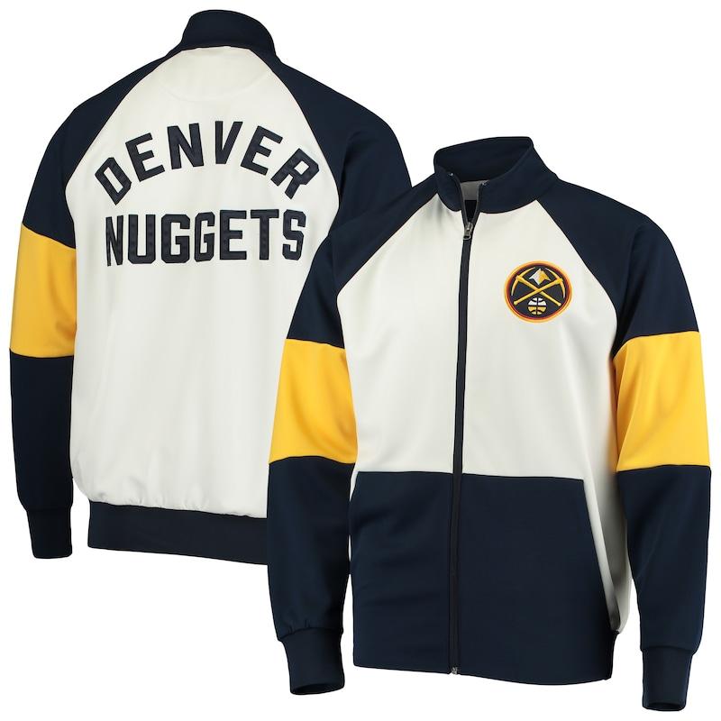 Denver Nuggets G-III Sports by Carl Banks Warm Up Colorblock Raglan Full-Zip Track Jacket - Navy/White