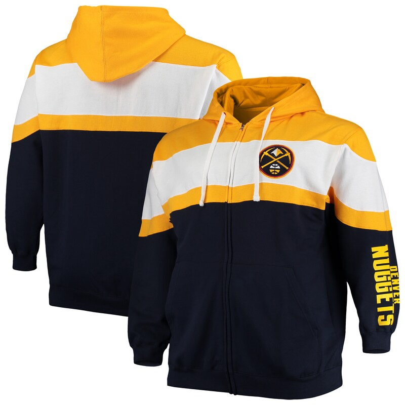 Denver Nuggets Majestic Color Block Wordmark Logo Big & Tall Full-Zip Hoodie - Yellow/Navy