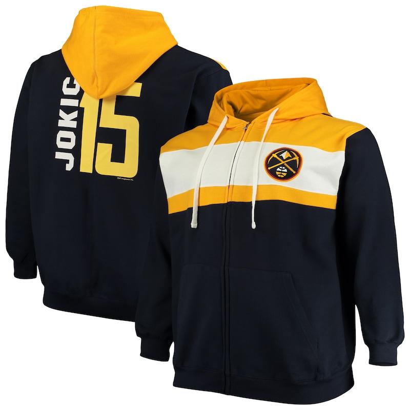 Nikola Jokic Denver Nuggets Big & Tall Full-Zip Hoodie - Navy/White
