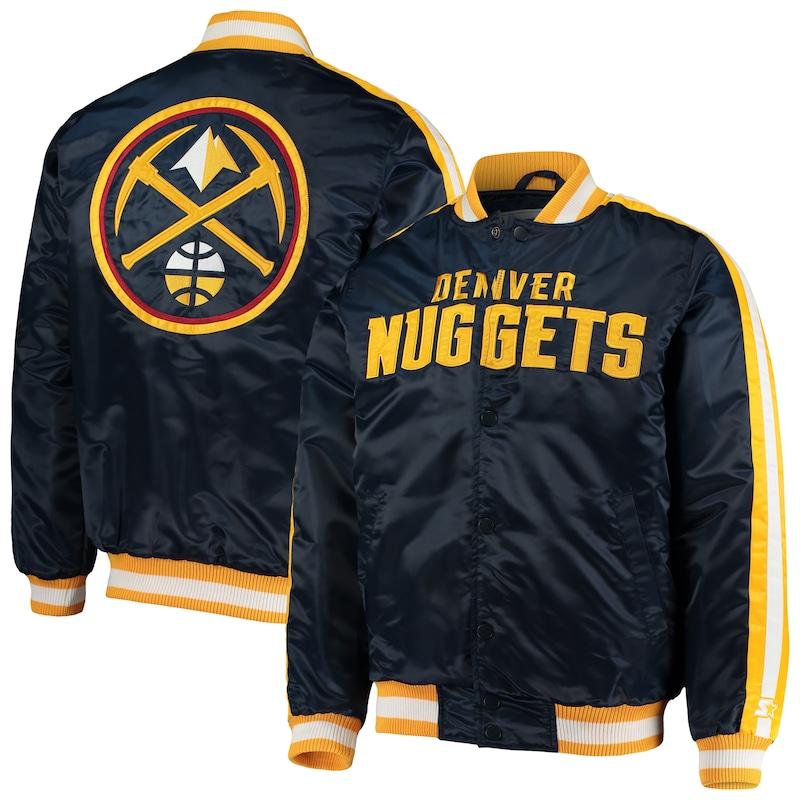 Denver Nuggets Starter The Offensive Varsity Satin Full-Snap Jacket - Navy