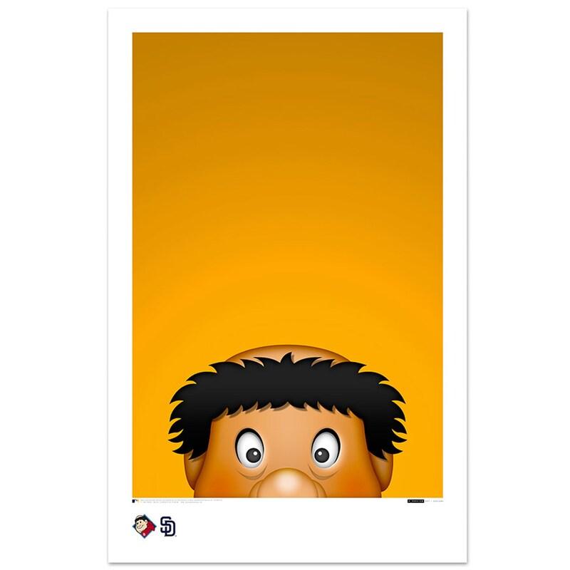 """San Diego Padres Swinging Friar 11"""" x 17"""" Minimalist Mascot Art Poster"""