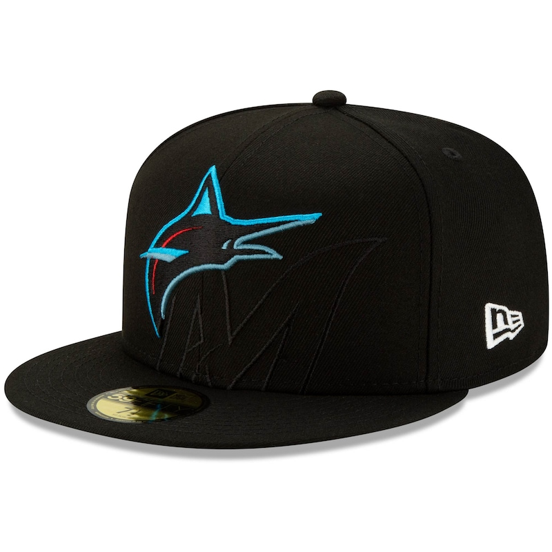 Miami Marlins New Era Logo Elements 59FIFTY Fitted Hat - Black