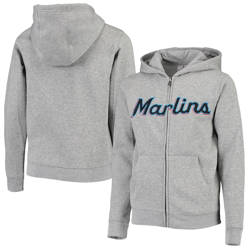 Miami Marlins Youth Wordmark Full-Zip Hoodie - Heathered Gray