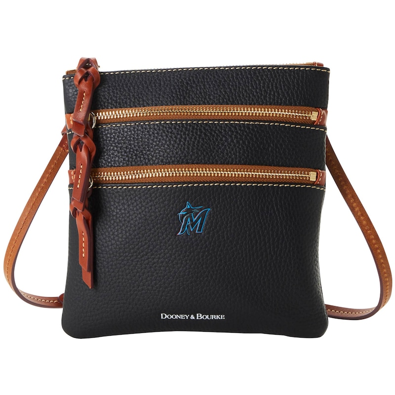 Miami Marlins Dooney & Bourke Women's Pebble Triple-Zip Core Crossbody Purse