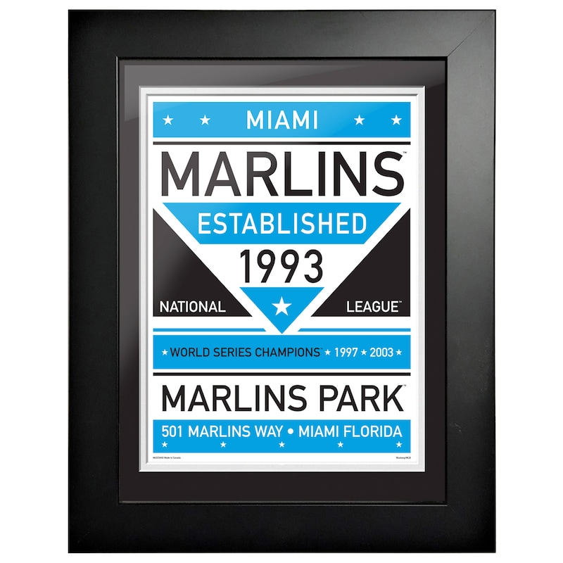 Miami Marlins 12'' x 16'' Dual Tone Framed Wall Art