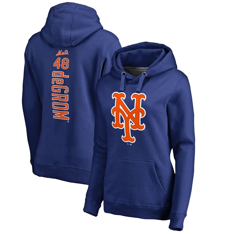 Jacob deGrom New York Mets Fanatics Branded Women's Backer Pullover Hoodie - Royal